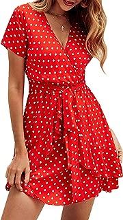ECOWISH Women's V Neck Polka Dot Ruffles Mini Sexy Dress Short Sleeve Wrap Summer Dresses with Belt