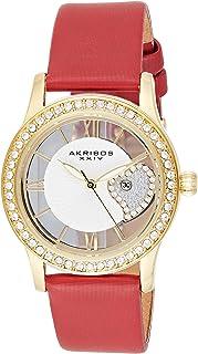 Akribos Xxiv Casual Watch Analog Display For Women Ak811Rd, Leather Strap