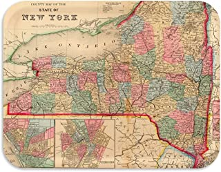 Trays4Us State of New York 1880 Vintage Map 16x12 inches (Large) Serving Tray - 70+ Different Designs