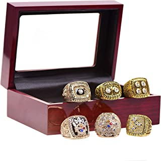 GF-sports store A Set of 6 Pittsburgh Steelers Super Bowl Championship Replica Ring by Display Box Set-(Yellow)