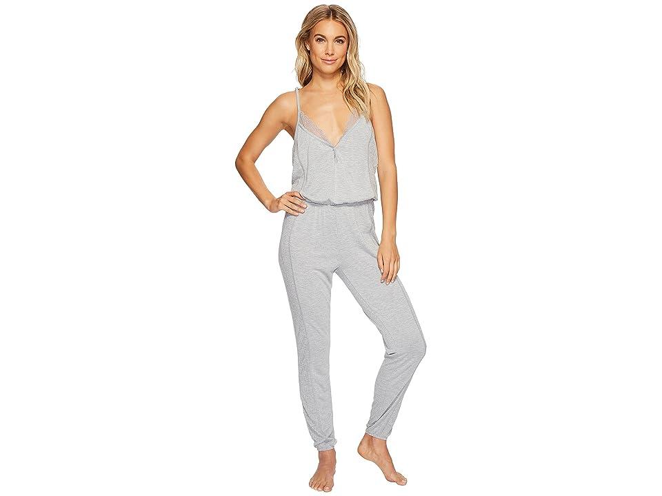 Splendid Always Long Lace Back Pajama Romper (Light Heather Gray) Women