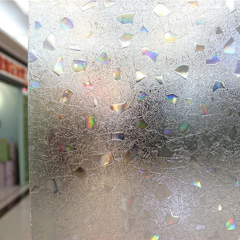 Leyden 24 By 72 Inch Cut Glass Colorful Stone No Glue 3D Static Decorative Glass Window Films