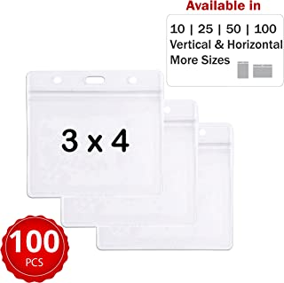 Durable & Heavy-Duty ID Badge Holders ~ Premium Quality, Clear Plastic, Waterproof & Dustproof ~ for Work, Moms, Teachers, Tours, Events, Cruises & More (100 Pack, Horizontal, 3x4) by Stationery King
