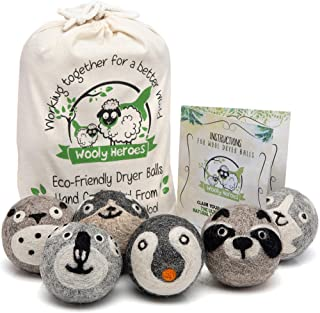 Wooly Heroes Wool Dryer Balls - Organic Eco Friendly - 6-Pack XL