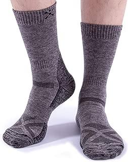 Men's Merino Wool Hiking Socks Thick Thermal Warm Athletic Crew Socks For Summer & Fall, Trekking, 2pairs