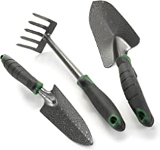 Edward Tools Garden Tool Set - Heavy Duty Carbon Steel Trowel, Transplanter, Hand Rake - 3 Piece Garden Tool Set with Bend-Proof Design - Ergo Rubber Grip Handles