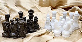 Radicaln Marble Big Board Games Complete Chess Figures - Suitable for 16 - 20 Inches Chess Board - Antique 32 Chess Figures Set - Completely Marble Handmade Non-Wooden Chess Pieces (whiteandoceanic)