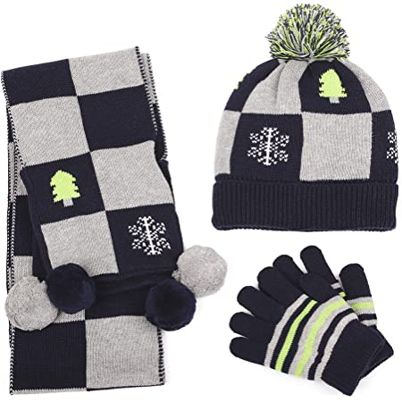 Winter Kids Hat Scarf and Gloves 3Pcs Set for Boys and Girls Toddler Age 3-6 Striped Pom Beanie Glove Neck Wamrm Maylisacc