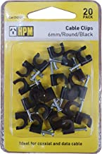 HPM DQ004 6mm Black Cable Clips Accessory - Cable clips round type Pack of 20 6mm black