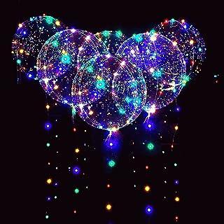 12 Packs LED Light Up BoBo Balloons Multicolor,18 PCS Clear Bobo Balloons,3 Levels Flashing LED String Lights,20 Inches Bu...