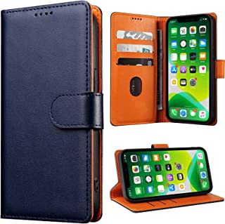 YANGVVIA iPhone XR Case, Genuine Leather iPhone XR Wallet Case with Kickstand and Card Slots Magnetic RFID Blocking for Me...