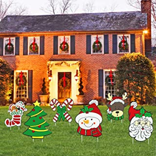 Mosoan Pack of 6 Christmas Yard Signs with Stakes for Holiday Lawn Yard Outdoor Decorations - Christmas Holiday Decorations Outdoor