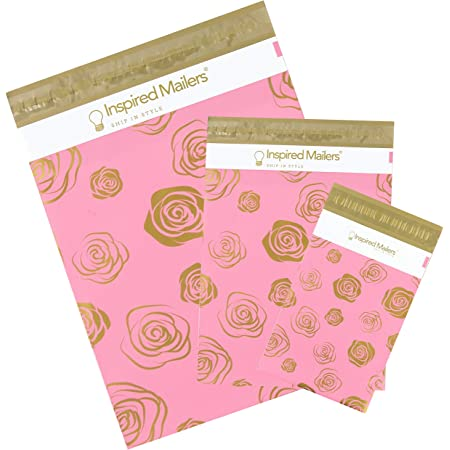 Inspired Mailers - Poly Mailers Variety Pack of 30 (10 Each: 6x9, 10x13, 14.5x19 Sizes) - Gold Roses Deluxe - Mailing Envelopes