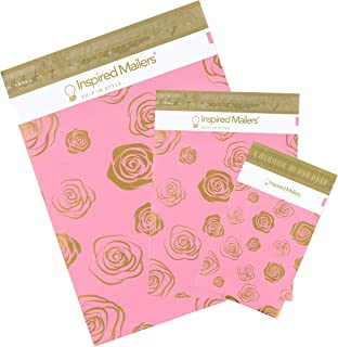Inspired Mailers - Poly Mailers Variety Pack - Gold Roses Deluxe - 30 Pack (10 Each: 6x9, 10x13, 14.5x19 Sizes) - 3.15mil Unpadded Mailing Envelopes