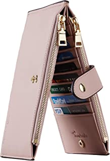 Travelambo Womens Walllet RFID Blocking Bifold Multi Card Case Wallet with Zipper Pocket Genuine Leather