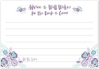 Purple and Aqua Wedding Advice Cards - Advice & Well Wishes for the Bride & Groom - Bridal Shower Game or Reception Activity (50 Count)