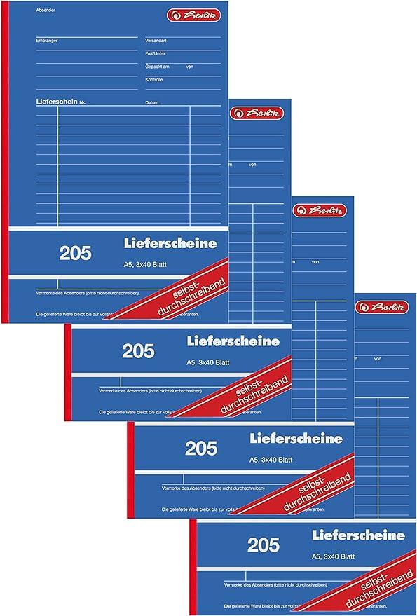 Herlitz 883546 Lieferschein Buch A5 205 3x40 Blatt Selbstdurchschreibend 4 Stück Din A5 Küche Haushalt