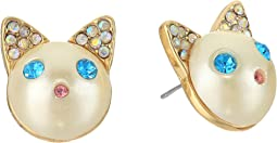 Betsey Johnson - Blue and Gold Cat Stud Earrings