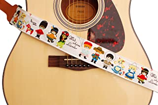"MUSIC FIRST Original Design, 2 inch Width (5cm), Cute Cartoon Delux""What A Wonderful World"" Soft Cotton & Genuine Leather Ukulele Strap, Guitar Strap, Mandolin Strap, Banjo Strap"