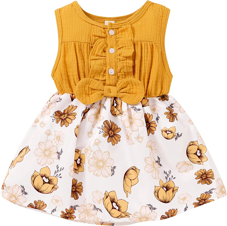 Max 45% OFF Toddler Infant Baby Girls Summer Bowknot Max 46% OFF Den Ruffle Button Dress