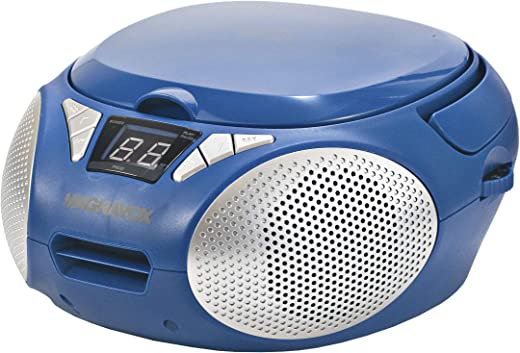 MAGNAVOX MD6924-BL Portable Top Loading CD Boombox with AM/FM Stereo Radio in Blue | CD-R/CD-RW Compatible | LED Display | AUX Port Supported | Programmable CD Player |