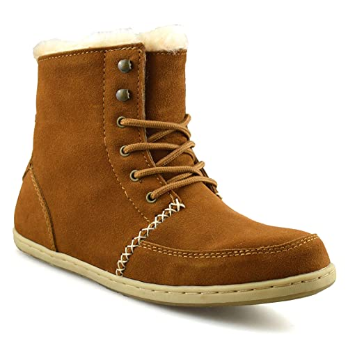 440234d1a890 Ladies Womens Flat Leather Suede Warm Fur Lined Snug Winter Ankle Boots  Shoes