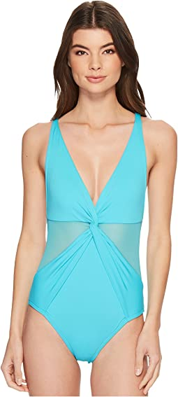 MICHAEL Michael Kors - Layered Illusion V-Neck One-Piece Swimsuit w/ Mesh Insert & Removable Soft Cups