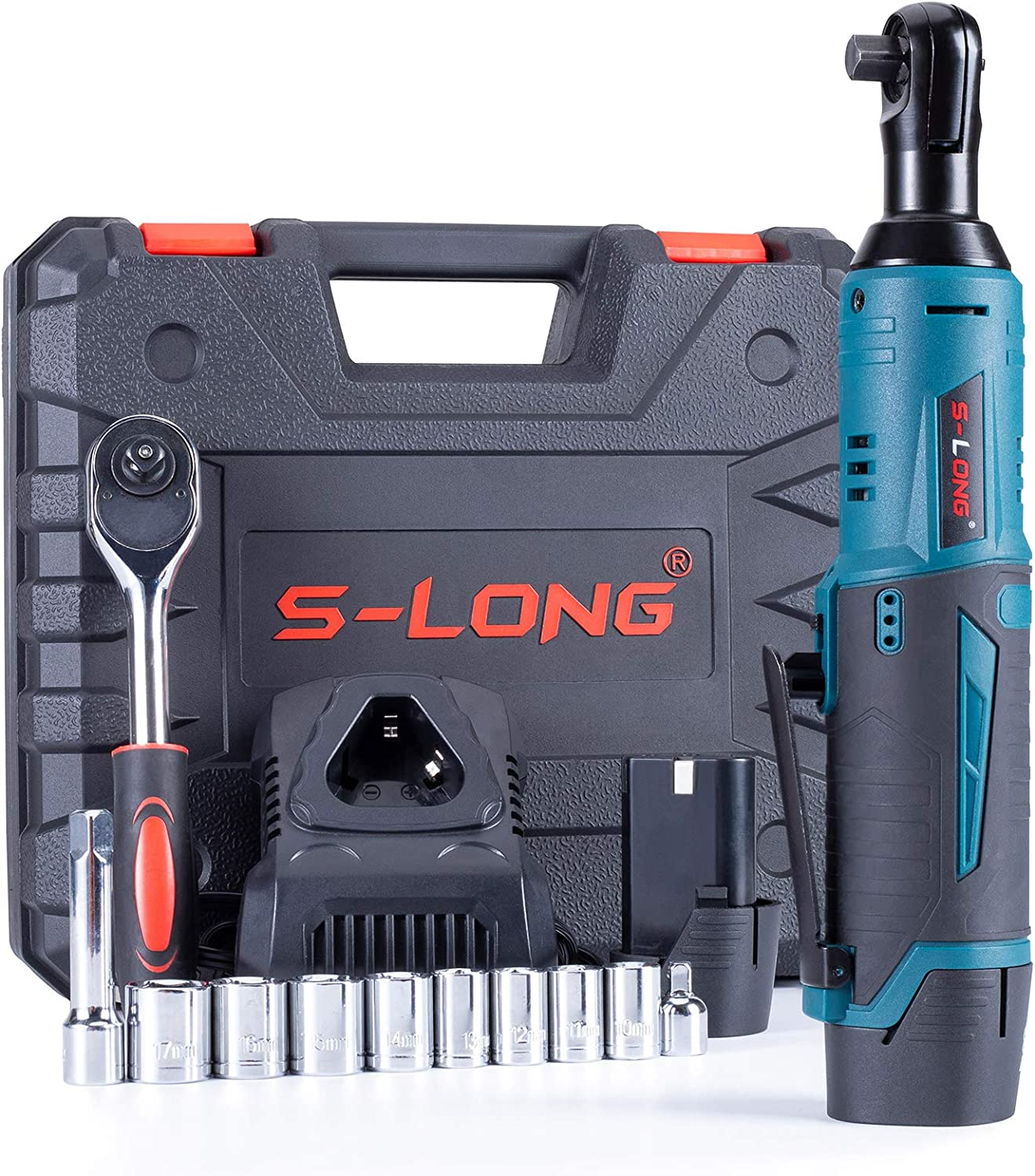 """S-LONG Cordless Electric Ratchet Wrench Set, 3/8"""" 400 RPM 12V Power Ratchet Driver with 10 Sockets, 2000mAh Lithium-Ion Battery and 60-Min Fast Charge : Tools & Home Improvement"""