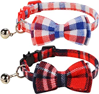 LaReine Pack of 2 Safety Breakaway Bowtie Cat Collars with Bell - Plaid White Red