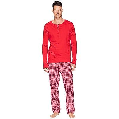 Nick Graham Plaid Long Sleeve Henley Lounge Set (Red) Men