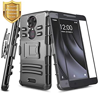 REVVL Plus Case (T-Mobile) w/[Full Cover Tempered Glass Screen Protector], NageBee Belt Clip Holster Defender Heavy Duty Shock Proof Kickstand Armor Combo Rugged Durable Ultra Protection Case -Black