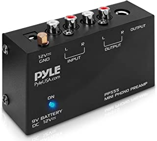 Pyle Phono Turntable Preamp - Mini Electronic Audio Stereo Phonograph Preamplifier with 9V Battery Compartment, Separate D...
