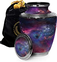 Cosmic Galaxy Universe Cremation Urns for Adult Ashes for Funeral, Niche or Columbarium, 100% Brass, Cremation Urns for Human Ashes Adult 200 Cubic inches, Brass, Interstaller Nebula, Large