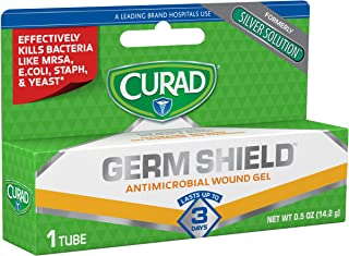 Curad Germ Shield Antimicrobial Wound Gel, First Aid Ointment, Contains Silver Antimicrobial, Effectively kills bacteria like MRSA, E.Coli and Staph, plus yeast and fungus, 0.50 oz Tube