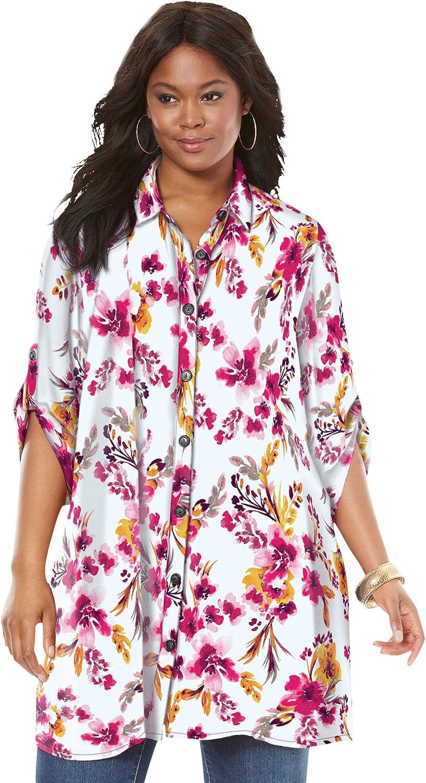 Roaman's Women's Plus Size Tess Crinkle Big Shirt