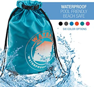 WaterSeals Cinch Drawstring Backpack with Ripstop Waterproof Material to Protect Wallet, iPhone and Valuables at The Beach, Pool + Camping, Teal