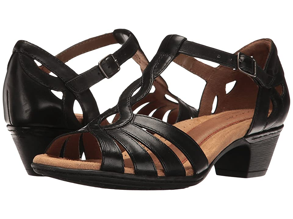 Vintage Sandal History: Retro 1920s to 1970s Sandals Rockport Cobb Hill Collection Cobb Hill Abbott Curvy T-Strap Black Leather Womens Shoes $109.95 AT vintagedancer.com
