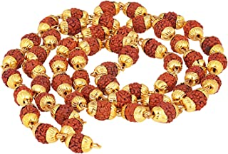 Aheli Panchmukhi Rudraksh with Golden Cap 55 Beads Jap Mala for Unisex, 24 inch - Indian Fashion Jewelry