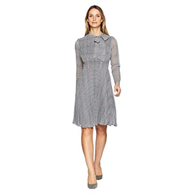 Maggy London Plaid Chiffon Side Neck Bow Tie Pleated Fit and Flare Dress (White/Grey/Teal) Women