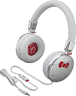 Hello Kitty Fashion Headphones with Built in Microphone & Travel Pouch