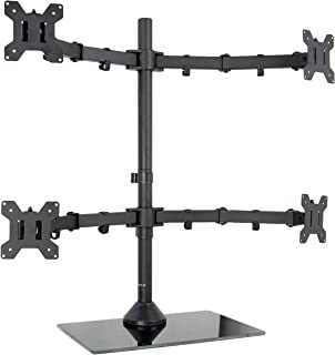 """VIVO Black Adjustable Quad Monitor Desk Stand Mount Free Standing Heavy Duty Glass Base 