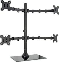 VIVO Black Adjustable Quad Monitor Desk Stand Mount, Free Standing Heavy Duty Glass Base   Holds 4 Screens up to 27 inches (STAND-V004FG)