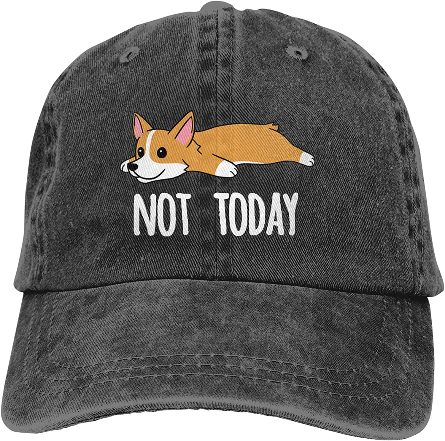 Women's Embroidered Baseball Cap Not Today Corgi Dog Vintage Distressed Hat
