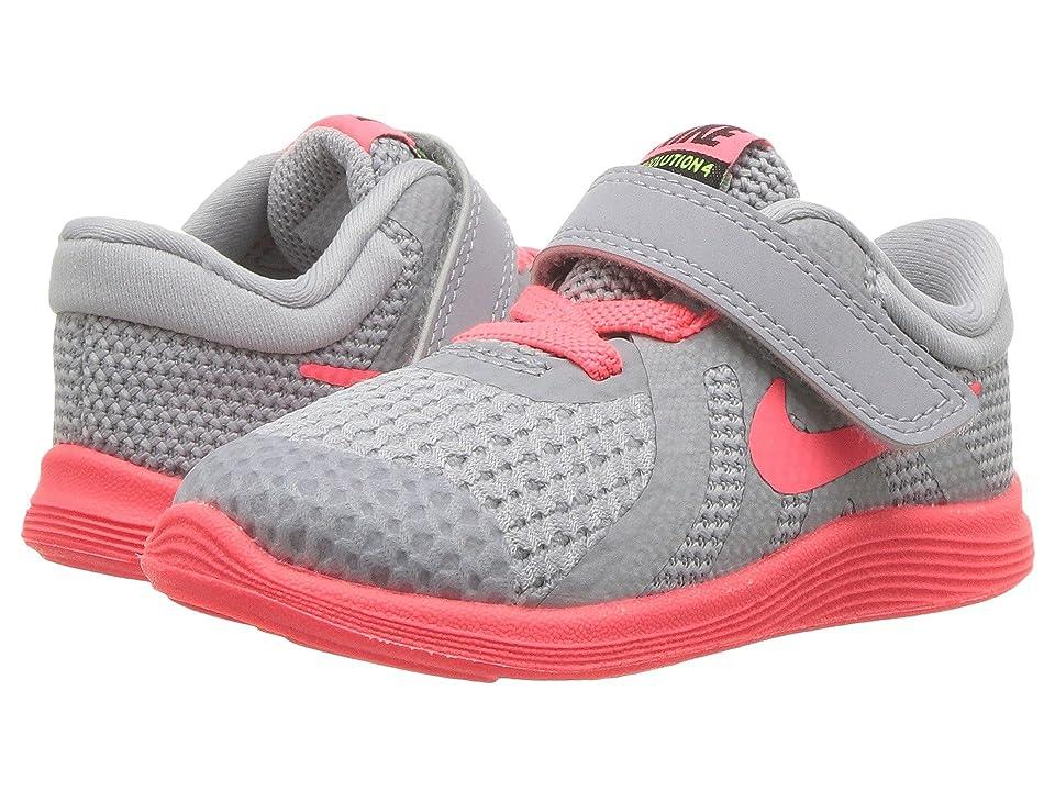 Nike Kids Revolution 4 Fade (Infant/Toddler) (Wolf Grey/Hot Punch/Volt/Black) Girls Shoes