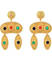"2.5"" Satin Gold Multicolor Cabachon Double Drop Pierced Earrings"