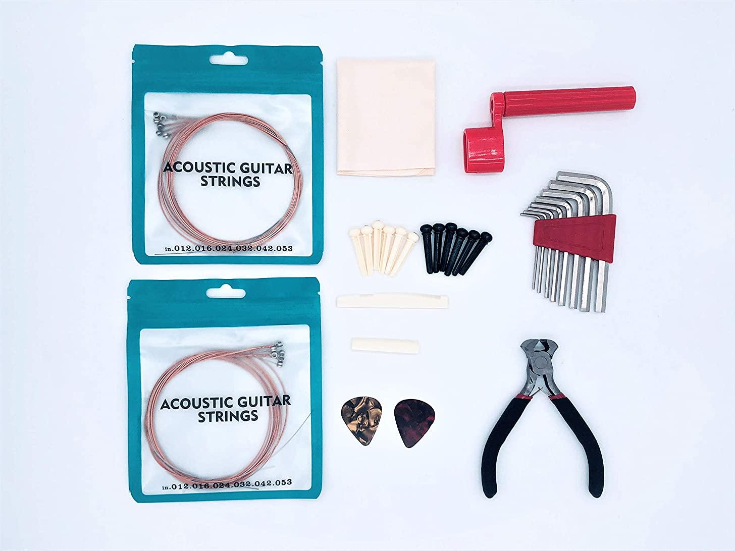 HarvestWings 40pcs Beginner Acoustic Guitar Kit w/Strings, Picks, String Winder,Cutter, Allen Keys, Cleaning Cloth and Replacements