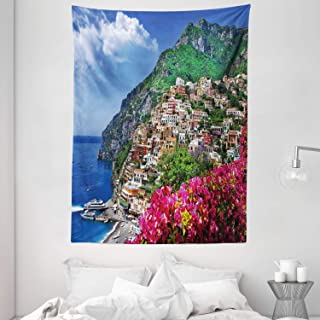 Italy Tapestry, Scenic View of Positano Amalfi Naples Blooming Flowers Coastal Village Image, Wall Hanging for Bedroom Liv...
