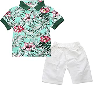 Kids Boys' Summer Gentleman Floral T-Shirts and Ripped Shorts Clothing Sets