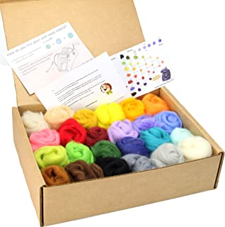 Woolbuddy Needle Felting Wool Roving Spring Color, Beautiful Felting Wool, Instruction Teach You How to Mix Color- Great for Arts & Crafts & Easy for Beginners (24 Wool kit)