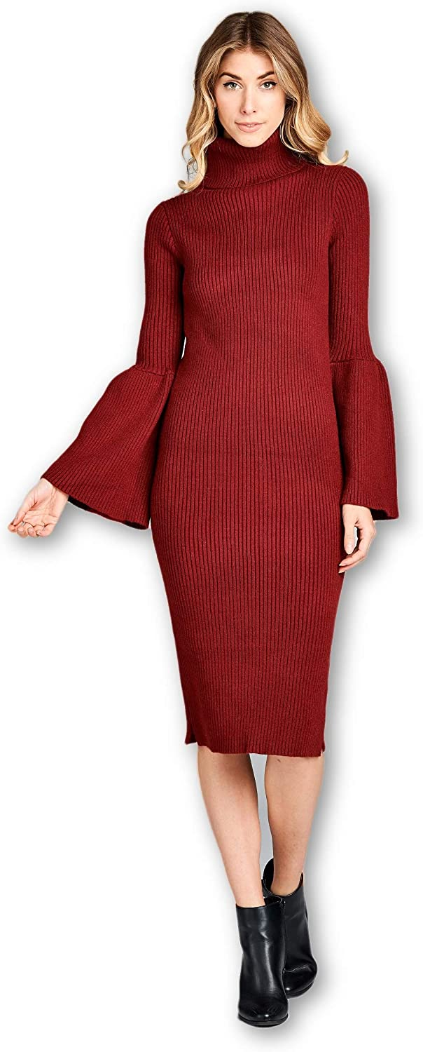 ReneeC. Women's Cowl Neck Knit Elastic Wide Sleeve Sweater Dress Made in USA